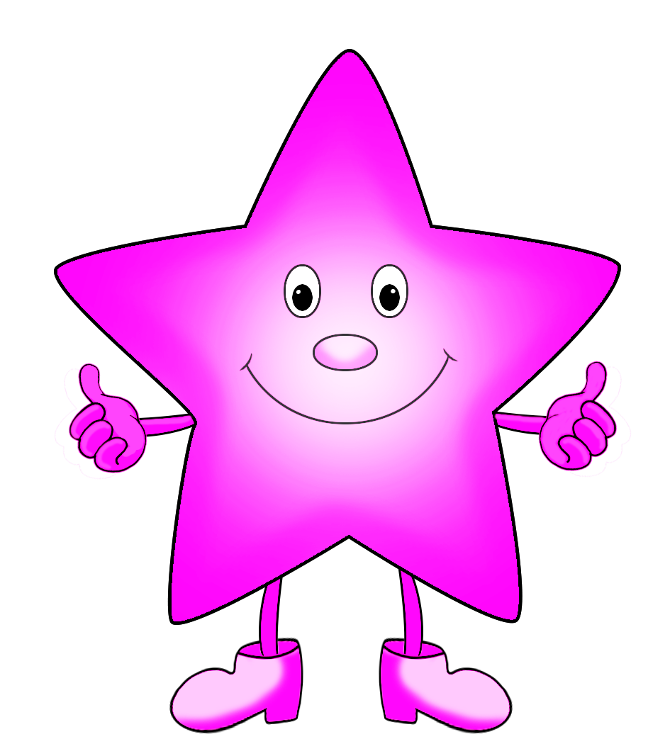 pink cartoon star clipart