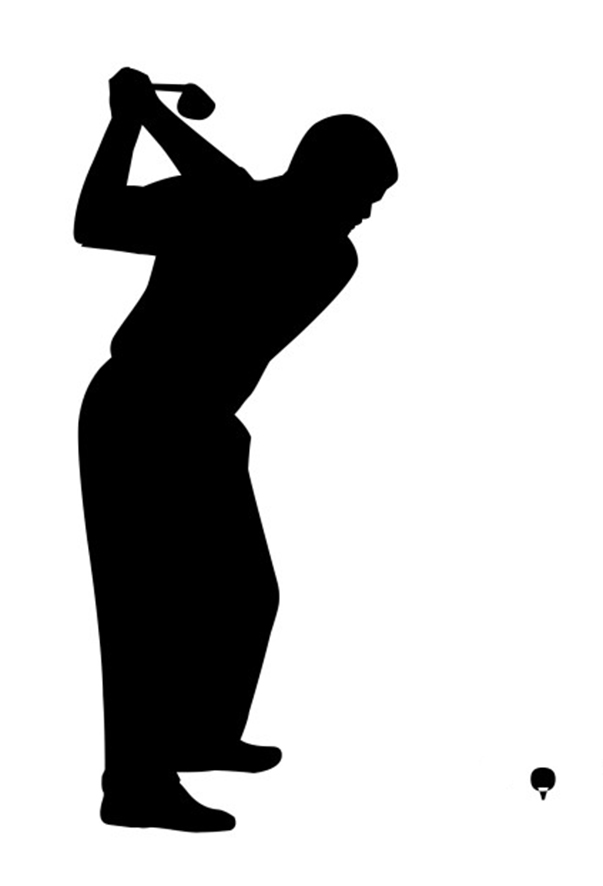 golf ball and golf player clipart