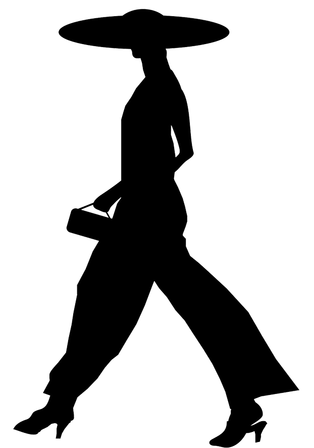 woman with large hat silhouette