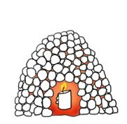 Snow igloo with candle