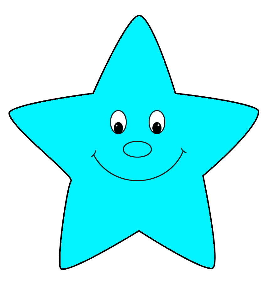 light blue star cartoon style