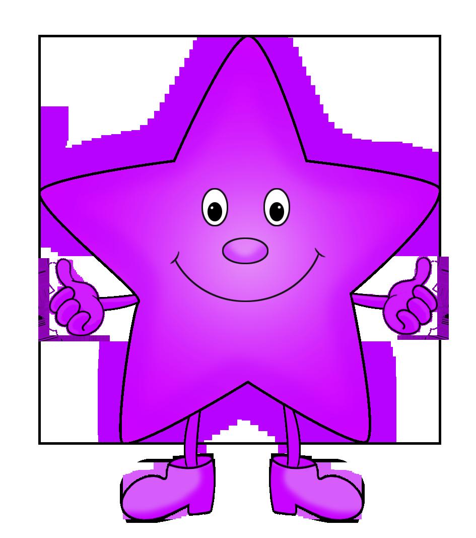 purple funny star clipart