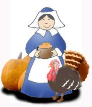woman with pumpkin and turkey for Thanksgiving