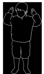 black cilhouette kid white line