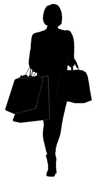 silhouette of woman shopping