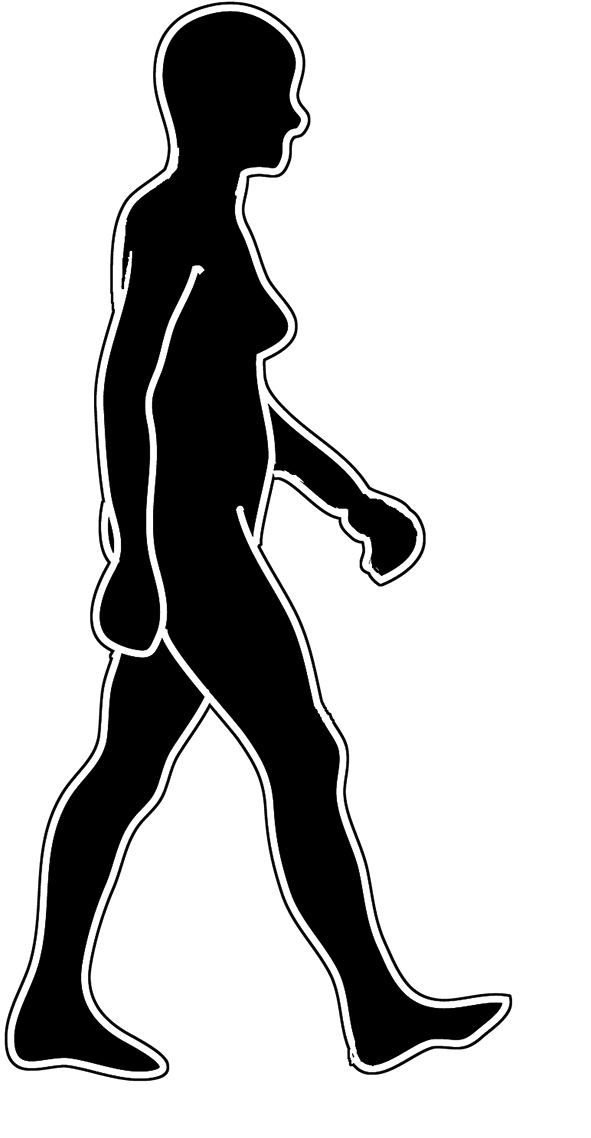 body silhouette woman walking black white
