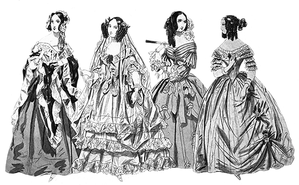 Victorian clothing 1841 four ladies Victorian style