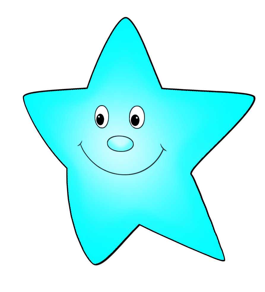 light blue cartoon star flying