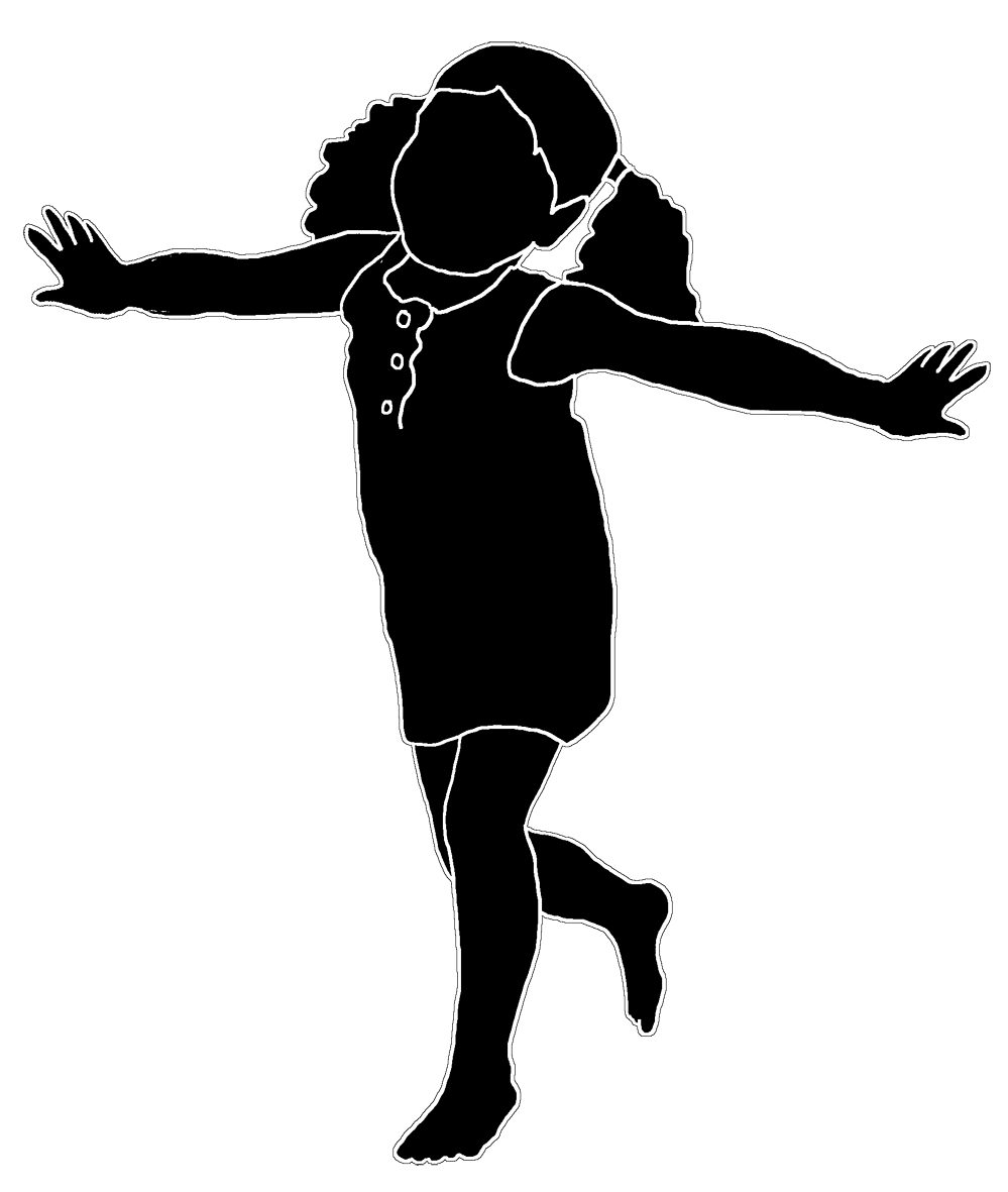 Silhouette of playing girl white stroke