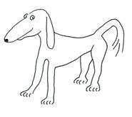 Dog cartoon illlustrations thin dog sketch