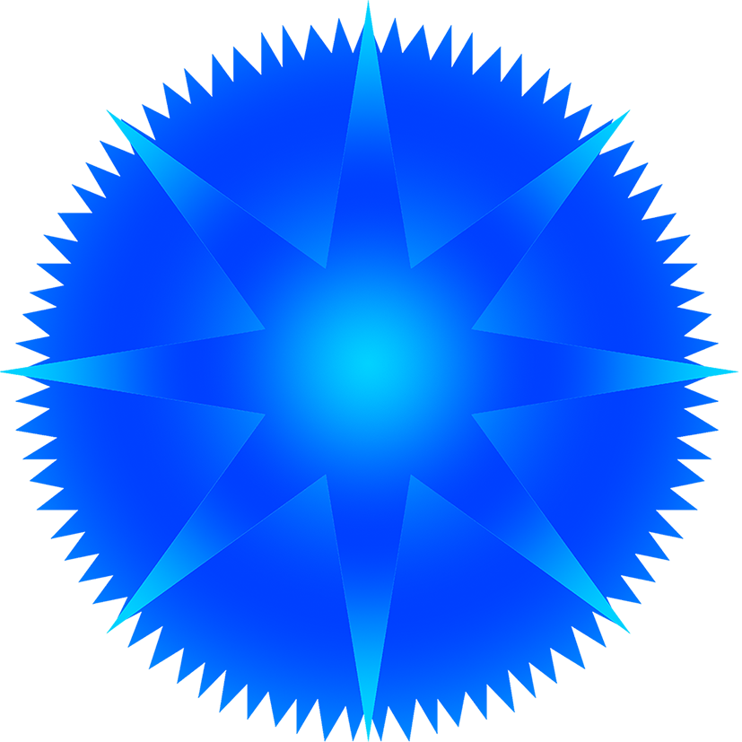 blue star with rays