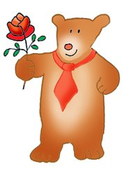 Valentine bear with red Valentine rose