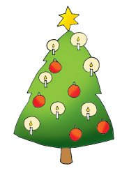 free christmas clip art tree with star candles