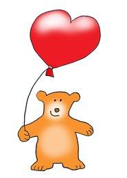 Valentines day hearts bear with heart balloon