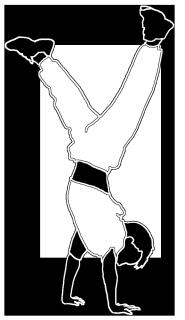 white black silhouette boy doing handstand