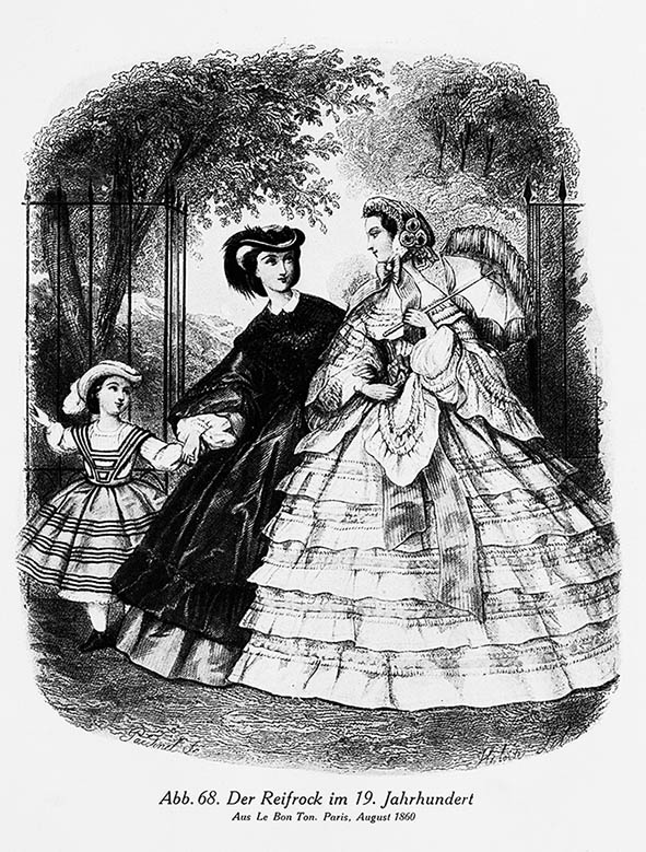 1860 latest fashion crinolines in Paris
