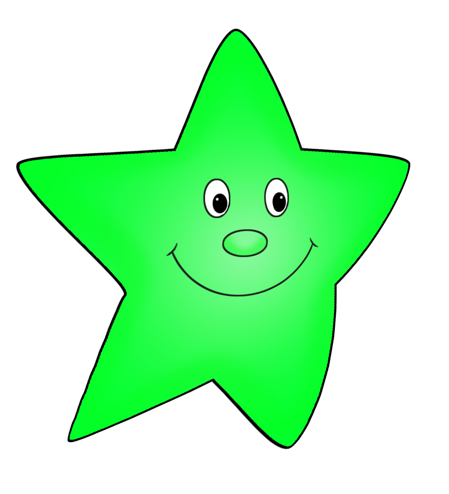 Cartoon star flying green