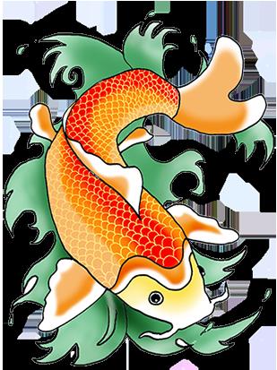 orange koi fish in green waves