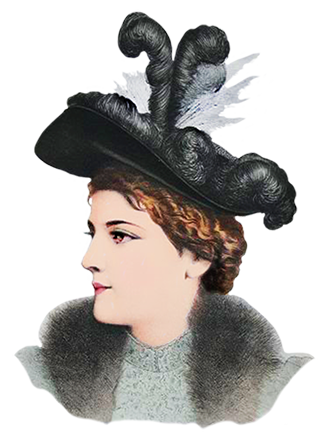 large Victorian hat with feathers 1883