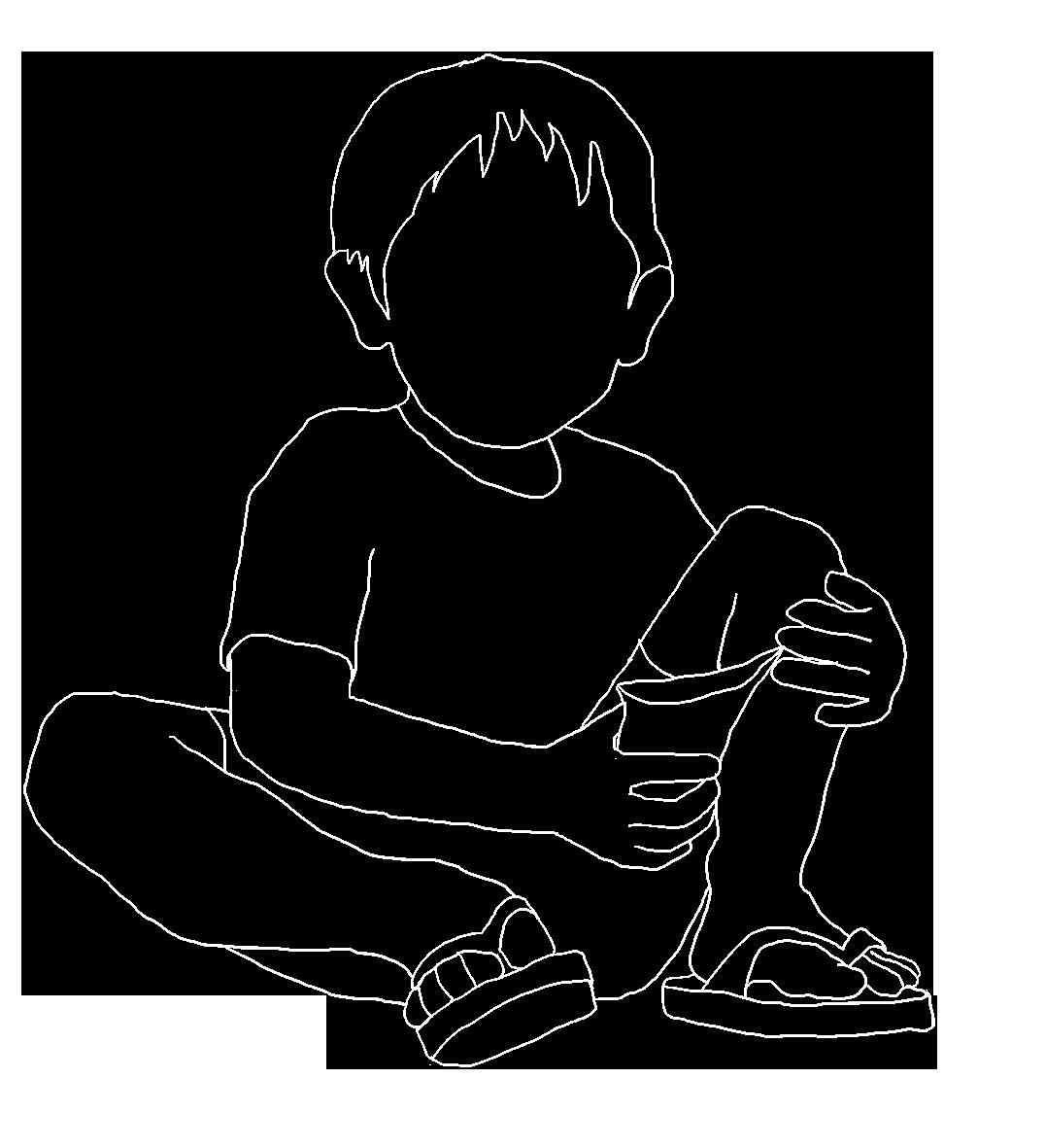 white line silhouette of children