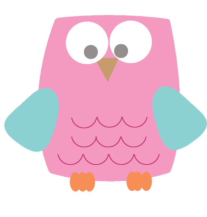 pink square owl clipart