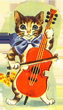 vintage scrap cat musician