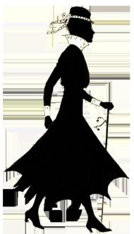 Vintage silhouette of woman walking