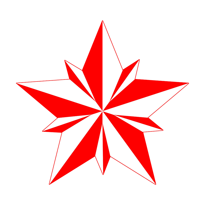 Double faceted red star