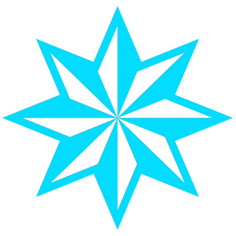 light blue faceted star