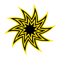 black and yellow swirling star clipart