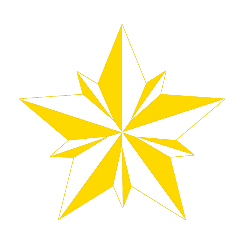 Yellow double faceted star