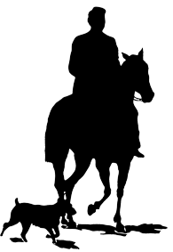 man with horse and dog