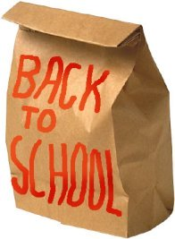 School lunch bag back to school text