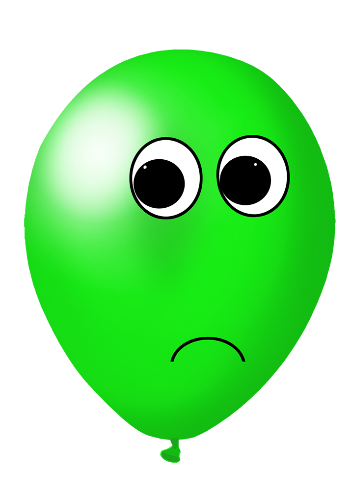green balloon with face