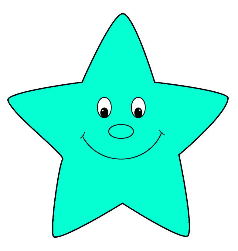 turquoise cartoon star