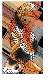 black white red orange koi fish