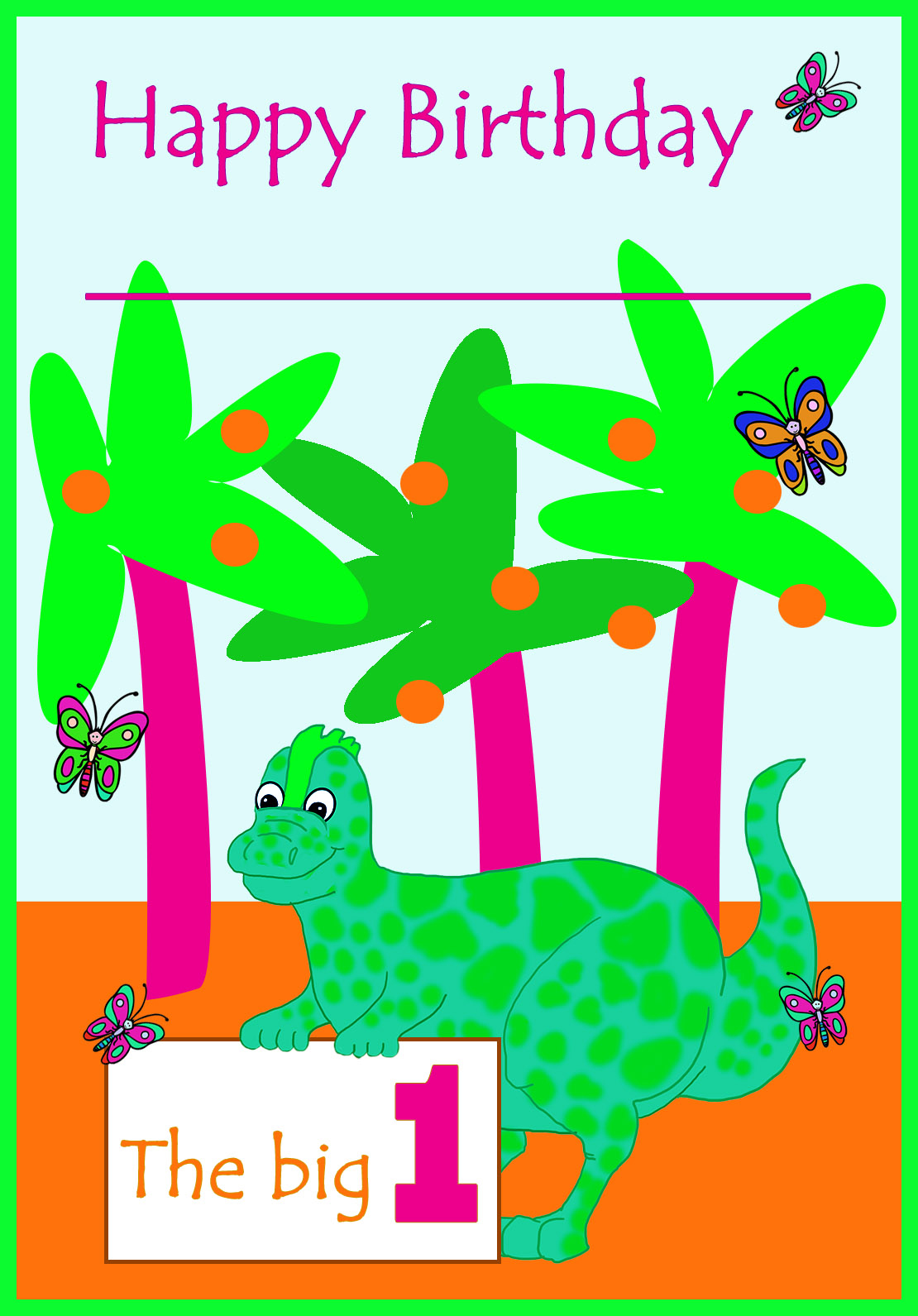dino 1st birthday printable card
