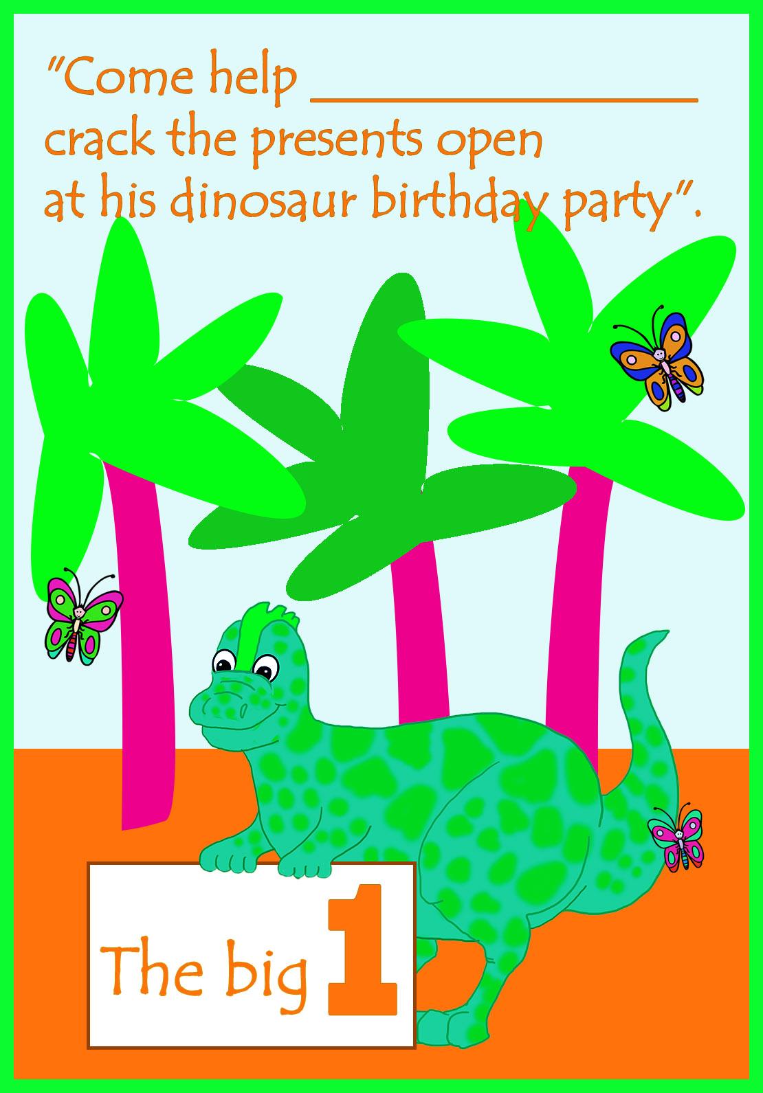 dinosaur 1st birthday invitation