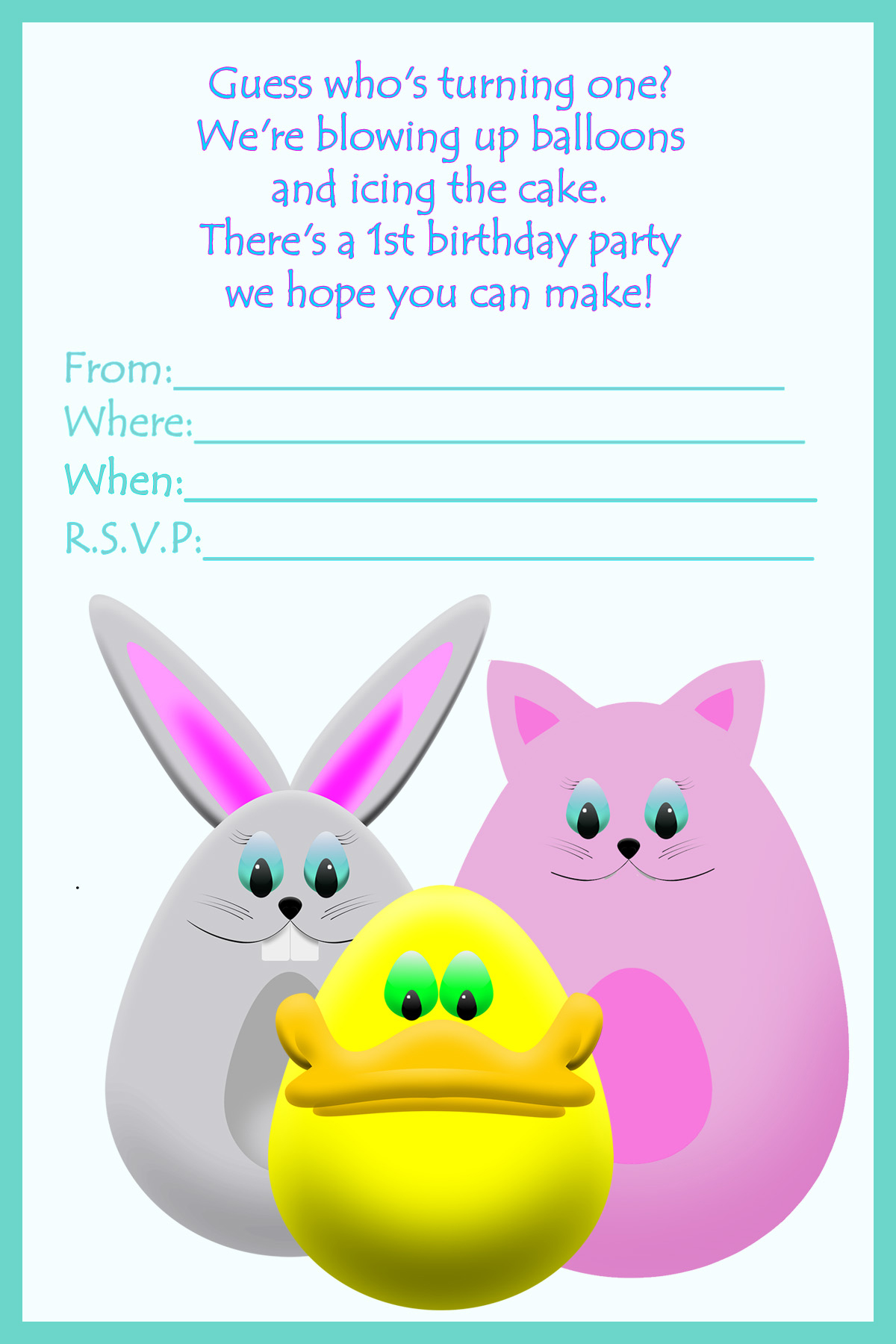 printable birthday invitation first birthday