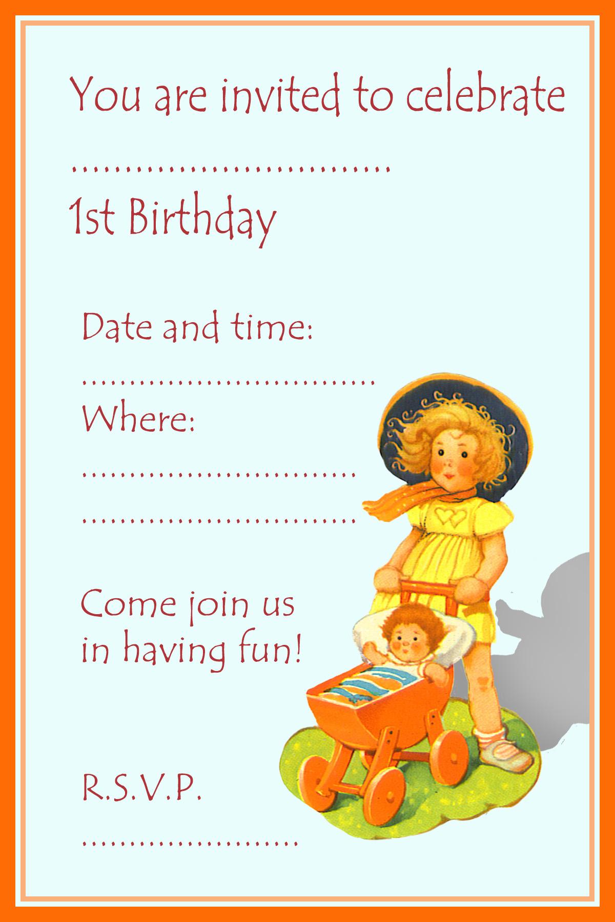 birthday invitations girl 1 year old
