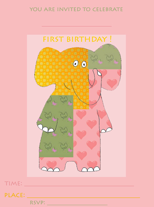 1st birthday invitations with pink elephant