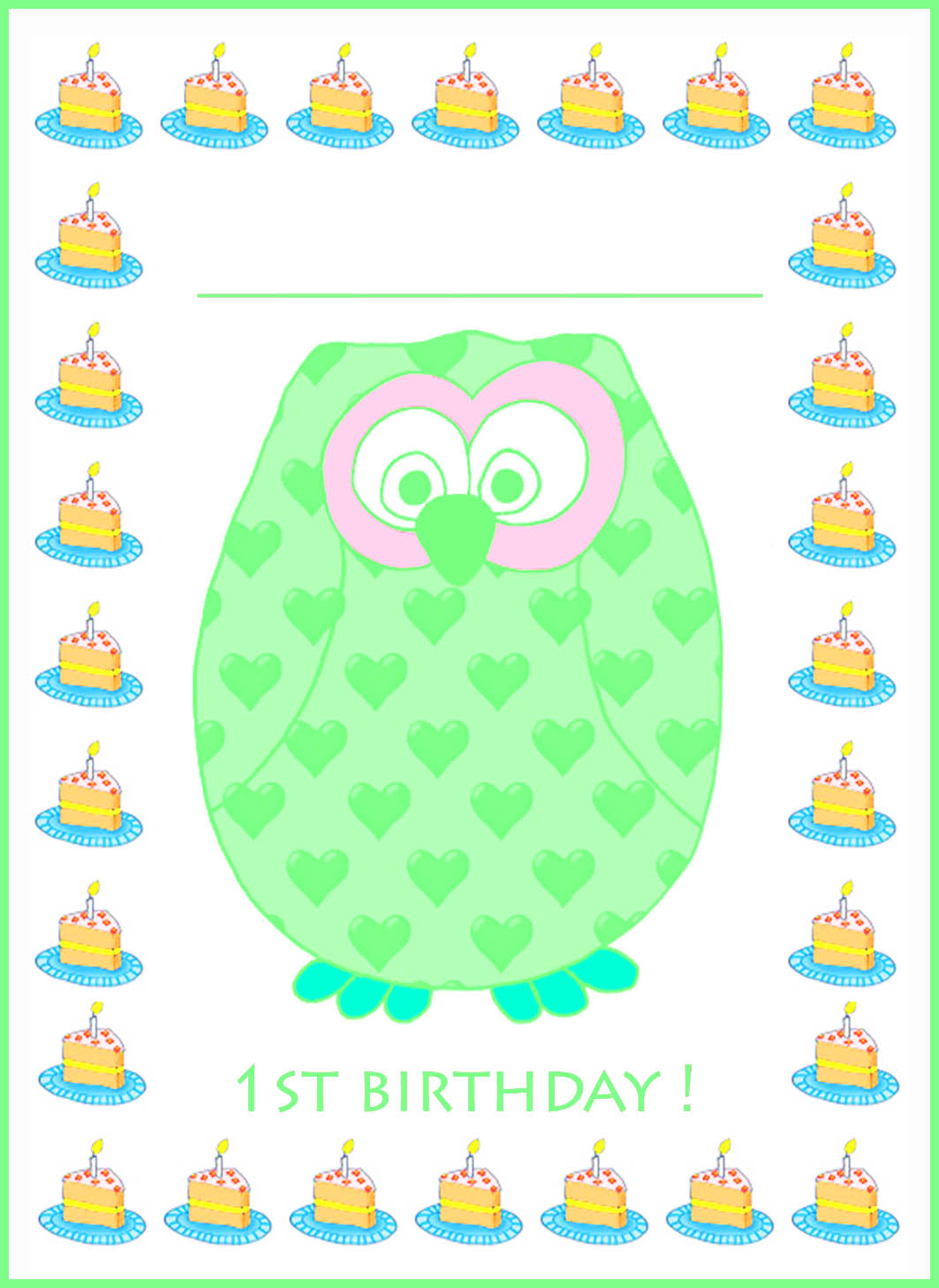 green 1st birthday invitation