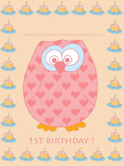 1st birthday invitation with owl