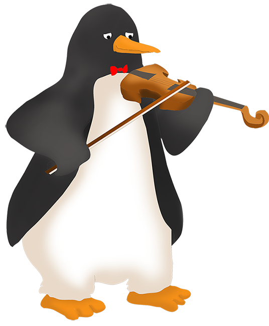 cartoon penutin playing the fiddle