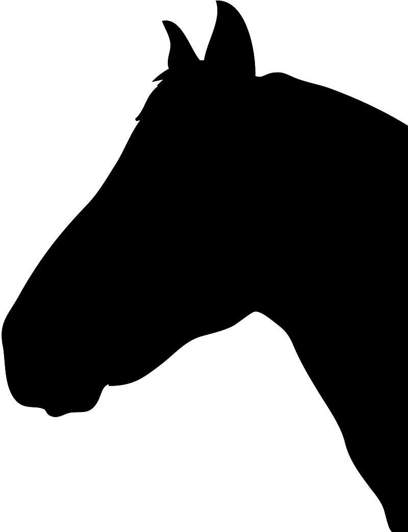 horse head silhouette black