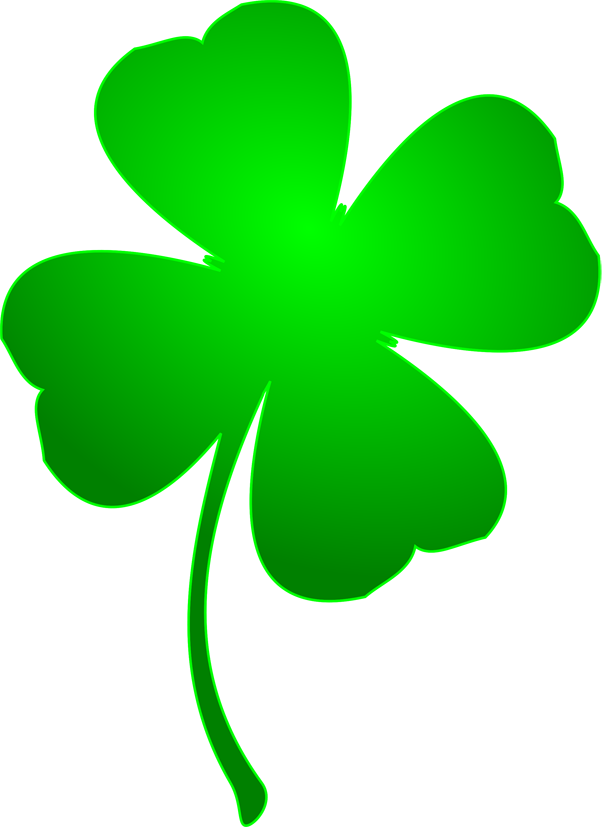 shamrock with four leaves for luck