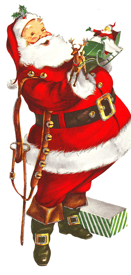 Old clip art of Santa Claus