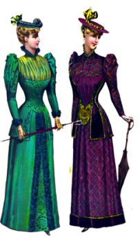 two Victorian fashion ladies