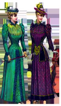 two Victorian fashion ladies