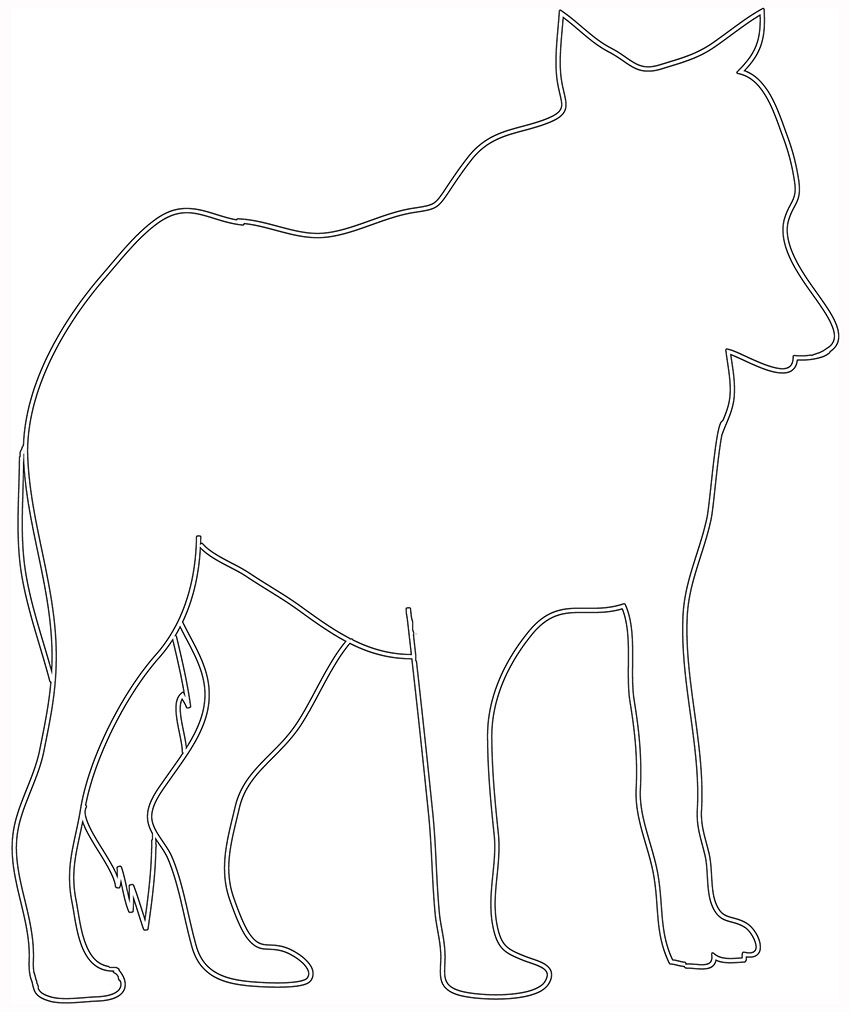 silhouette sketch of standing wolf